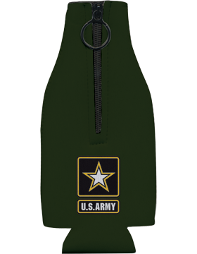 Bottle Hugger with Zipper, Army Star with U.S. Army, Black