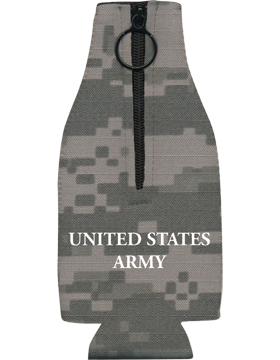 Bottle Hugger with Zipper, DOA Seal with United States Army, Camo