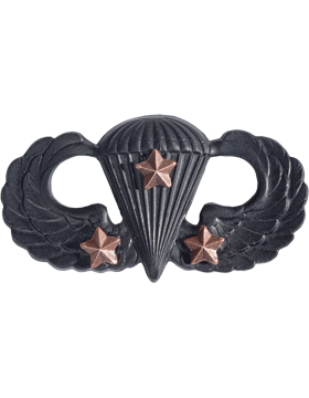 Black Metal Badge Parachutist w/ 3 Combat Stars