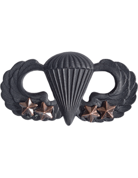 Black Metal Badge Parachutist w/ 4 Combat Stars