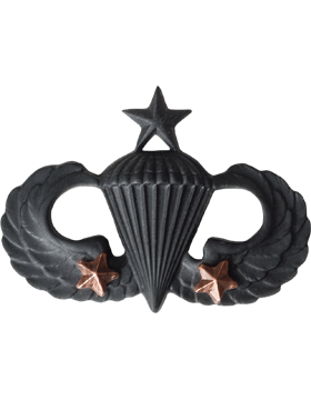 Black Metal Badge Sr Parachutist w/ 2 Combat Stars
