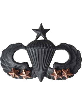 Black Metal Badge Sr Parachutist w/ 4 Combat Stars