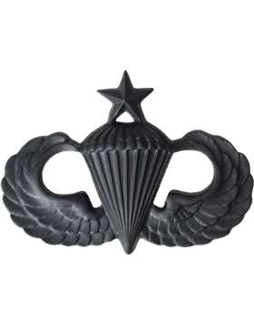 Black Metal Badge Senior Parachutist