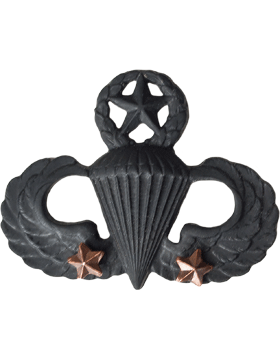Black Metal Badge Mstr Parachutist with  2 Combat Stars