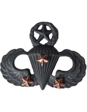Black Metal Badge Mstr Parachutist with  3 Combat Stars