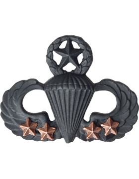 Black Metal Badge Mstr Parachutist with  4 Combat Stars