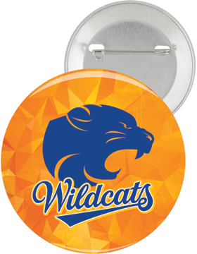 Beverlye Wildcats 2.25in Gold Button Pin Back