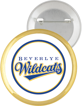 Beverlye Wildcats 2.25in White Button Pin Back with Mylar Ring