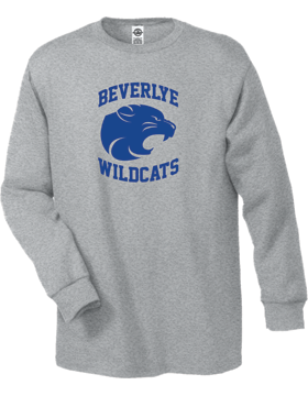 Beverlye Wildcats Long Sleeve Athletic Heather T-Shirt D61
