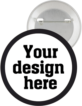 Custom Button Pin Back with Mylar Ring