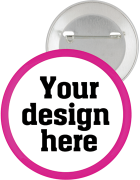 Custom Button Pin Back with Pink Mylar Ring