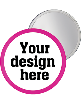 Custom Button Mirror Back with Pink Mylar Ring