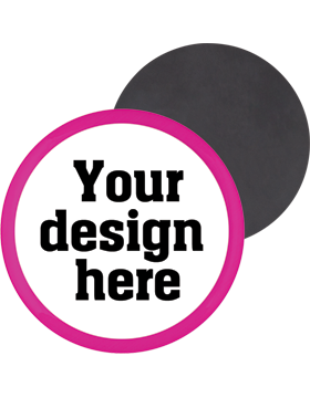 Custom Button Magnet Back with Pink Mylar Ring