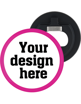 Custom Button Bottle Opener with Pink Mylar Ring