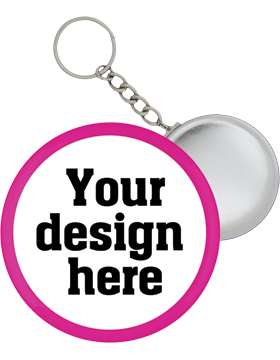 Custom Button Split Ring Key Chain with Pink Mylar Ring small