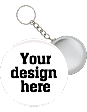 Custom or Stock Design Button 2.25in with Split Key Ring Key Chain (25-49)