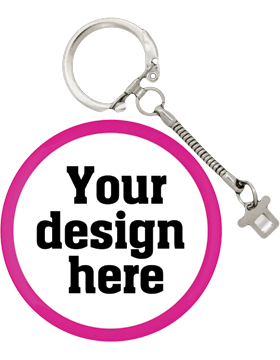 Custom Button Snake Key Chain with Pink Mylar Ring