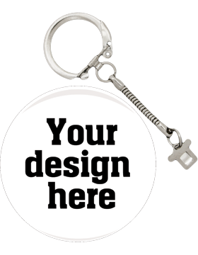 Custom or Stock Design Button 2.25in with Snake Key Chain (25-49)