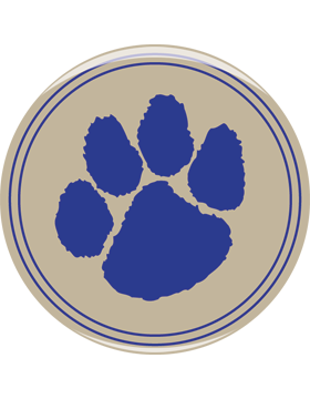 School Spirit Button, Paw Print, Blue, 2.25in