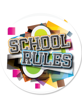 School Spirit Button, School Rules, Multicolor, 2.25
