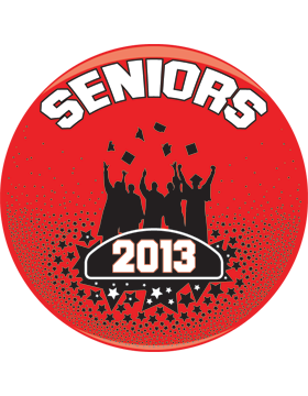 School Spirit Button, Seniors 2013, Red/Black, 2.25in