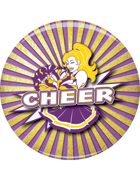 School Spirit Button, Cheer, Yellowith Purple, 2.25in