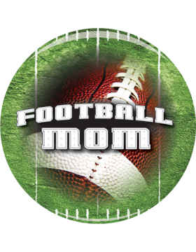 School Spirit Button, Football Mom, 2.25