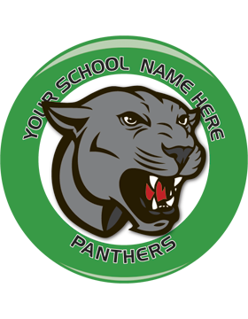School Spirit Button, Highschool - Panthers, 2.25in
