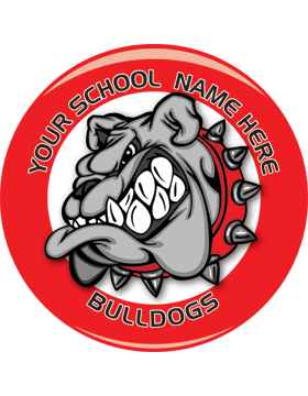 School Spirit Button, Highschool - Bulldogs, 2.25in