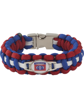 Cobra Weave 550 Paracord Bracelet with Buckle and 82nd Airborne Charm