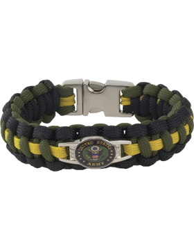 Cobra Weave 550 Paracord Bracelet with Buckle and Army Seal Charm