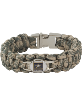 Cobra Weave 550 Paracord Bracelet with Buckle and U.S. Army Charm
