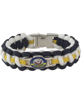 Cobra Weave 550 Paracord Bracelet with Buckle and Navy Charm