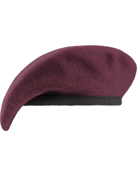Maroon Unlined Fitted Beret with Nylon Sweatband