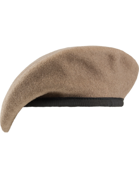 Ranger Tan Unlined Fitted Beret with Leather Sweatband