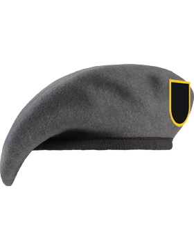 Fitted Beret with ROTC Flash and Leather Sweatband, Unlined