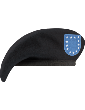 Black Fitted Unlined Beret with Leather Sweatband and Army Flash