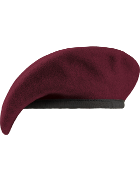 Maroon Fitted Lined Beret with Leather Sweatband