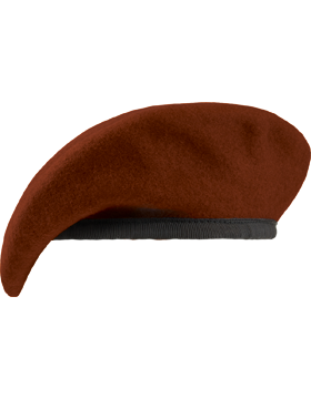 Beret with Leather Sweatband, Lined w/Eyelet