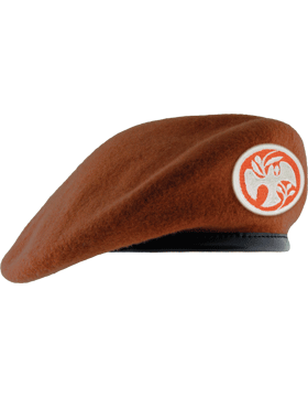 Beret with Leather Sweatband, Lined with Eyelet small