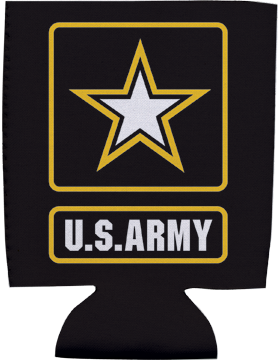 Collapsible Can Insulator, U.S. Army with Star, Black