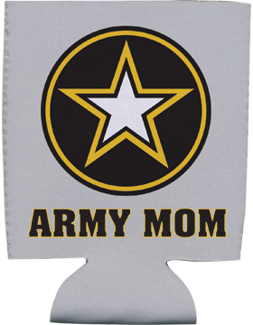 Collapsible Can Insulator, Army Star with Army Mom, Gray