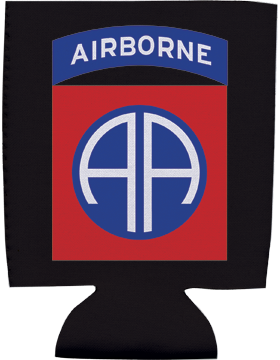 Collapsible Can Insulator, 82nd Airborne Div with Tab, Black