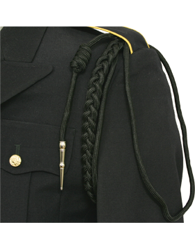 Shoulder Cord (CD-R102N) Black USAF w/ 2 Strands Nickel Tip