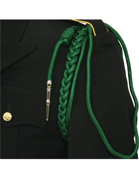 Shoulder Cord (CD-R105N) Kelly Green USAF w/ 2 Strands Nickel Tip