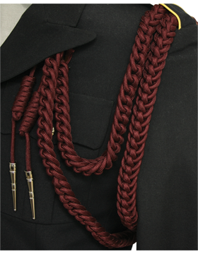 Shoulder Cord (CD-S108N) Maroon USAF Dress Aiguillette With Nickel Tip
