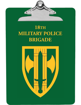 Clipboard 18th MP Brigade Patch on Green with Standard Clip