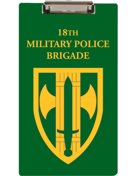 Clipboard 18th MP Brigade Patch on Green with Flat Clip small