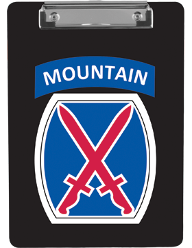Clipboard 10th Mountain Patch with Tab on Black with Flat Clip