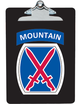 Clipboard 10th Mountain Patch with Tab on Black with Standard Clip